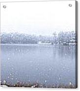 Lakeside In The Winter Snow Acrylic Print