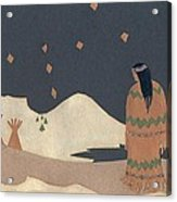 Lakota Woman With Winter Constellations Acrylic Print