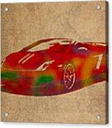 Lamborghini Gallardo 2013 Classic Sports Car Watercolor On Worn Distressed Canvas Acrylic Print