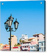 Lamp In Agios Nikolaos Acrylic Print by Luis Alvarenga