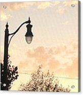 Lamp Post And Cotton Candy Sunset Acrylic Print