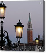 Lampposts Lit Up At Dusk With Building Acrylic Print
