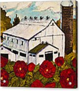 Lancaster Red Rose And Barn Acrylic Print by Paris Wyatt Llanso