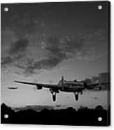 Lancasters Taking Off At Sunset Bw Acrylic Print