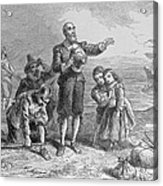 Landing Of The Pilgrims, 1620, Engraved By A. Bollett, From Harpers Monthly, 1857 Engraving B&w Acrylic Print