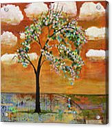 Landscape Art Scenic Tree Tangerine Sky Acrylic Print by Blenda Studio