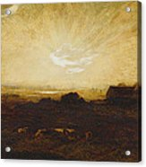 Landscape At Sunset Acrylic Print by Marie Auguste Emile Rene Menard