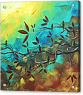 Landscape Bird Original Painting Family Time By Madart Acrylic Print