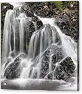 Landscape Detail Of Waterfall Over Rocks In Summer Long Exposure Acrylic Print