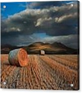 Landscape Of Hay Bales In Front Of Mountains Digital Painting Acrylic Print by Matthew Gibson