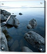 Landscape Of Rocks Along Shoreline Acrylic Print