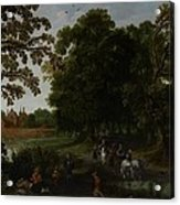 Landscape With A Courtly Procession Before Abtspoel Castle Acrylic Print