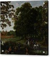 Landscape With A Courtly Procession Before Abtspoel Castle Acrylic Print by Esaias I van de Velde