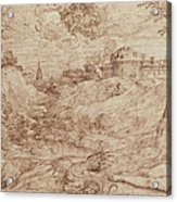 Landscape With A Dragon And A Nude Woman Sleeping Acrylic Print by Titian