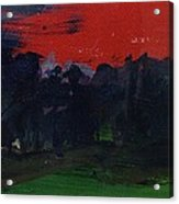 Landscape With A Red Sky Oil On Canvas Acrylic Print