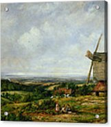 Landscape With Figures By A Windmill Acrylic Print by Frederick Waters Watts