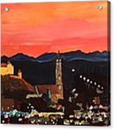 Landshut At Dawn With Alps Acrylic Print