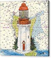 Langara Pt Lighthouse Bc Canada Nautical Chart Map Art Acrylic Print