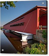 Langley Covered Bridge Michigan Acrylic Print by Steve Gadomski