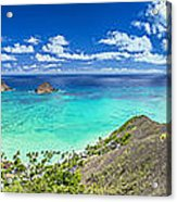Lanikai Bellows And Waimanalo Beaches Panorama Acrylic Print
