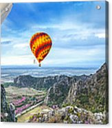 Lanscape Of Mountain And Balloon Acrylic Print