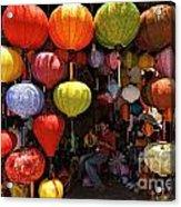 Lanterns Hanging In Shop In Hoi An Acrylic Print by Sami Sarkis