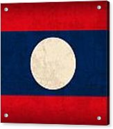 Laos Flag Vintage Distressed Finish Acrylic Print