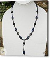 Lapis Lazuli And Black Onyx Lariat Necklace 3675 Acrylic Print