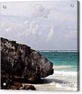 Large Boulder On A Caribbean Beach Acrylic Print