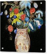 Large Bouquet On A Black Background Acrylic Print by Odilon Redon
