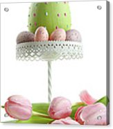 Large Easter Egg With Pink Tulips  Acrylic Print