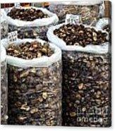 Large Sacks With Dried Mushrooms Acrylic Print