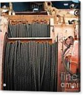 Large Winch With Steel Cable Acrylic Print