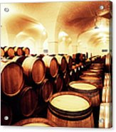 Large Winery Cellar Filled With Oak Acrylic Print