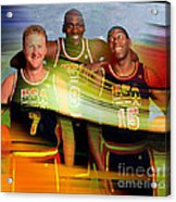 Larry Bird Michael Jordon And Magic Johnson Acrylic Print by Marvin Blaine