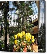 Las Vegas Attrium Architecture N Interior Decorations Casinos Resorts Hotels Flowers Sky Green Signa Acrylic Print