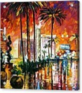 Las Vegas - Palette Knife Oil Painting On Canvas By Leonid Afremov Acrylic Print