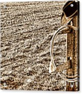 Lasso And Hat On Fence Post Acrylic Print