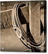 Lasso On Fence Post Rustic Acrylic Print