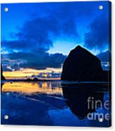Last Light - Cannon Beach Sunset With Reflection In Oregon The Coast Acrylic Print