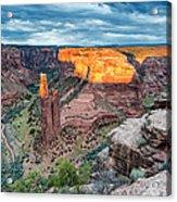 Last Light On Spider Rock Canyon De Chelly Navajo Nation Chinle Arizona Acrylic Print