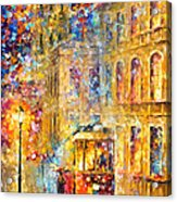 Last Trolley - Palette Knife Oil Painting On Canvas By Leonid Afremov Acrylic Print