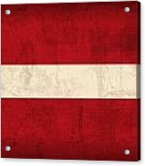 Latvia Flag Vintage Distressed Finish Acrylic Print