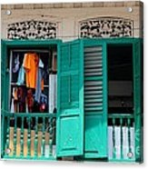 Laundry Hanging Seen Through Open Wood Shutter Windows Singapore Acrylic Print