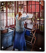Laundry - Miss Lady Blue  Acrylic Print by Mike Savad