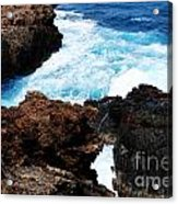 Lava Rock On Aruban Coast Acrylic Print