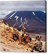 Lava Sculptures And Volcanoe Mount Ngauruhoe Nz Acrylic Print