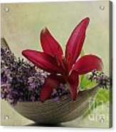 Lavender Boat With Lilies Acrylic Print