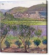 Lavender Seen Through Quince Trees Acrylic Print by Timothy  Easton