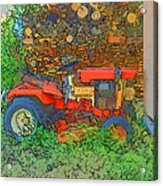 Lawn Tractor And Wood Pile Acrylic Print